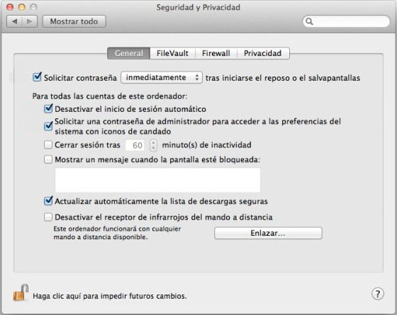 Seguridad opciones Mac OSX